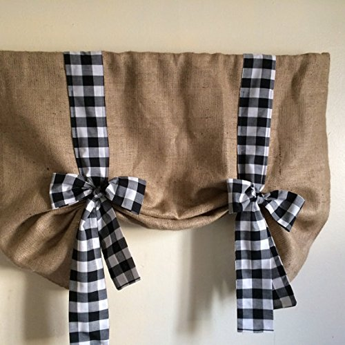 """Natural Burlap Tie Up Valance Black and White 40"""" X30 KM Curtain"""