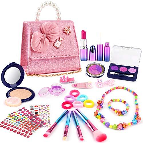 balnore 27 Pcs Maquillaje Niñas, Juguetes de Kit de Maquillaje, Niñas Regalo de Princesas para Niñas Juguete para Los Niños en Fiesta