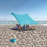 Forceatt Tendalino da Spiaggia, Tenda da Spiaggia Pop-up con Protezione UV UPF50+ e 4 Pezzi in Alluminio, Riparo da Esterno per Tempo in Spiaggia, Cortile, Campeggio o Picnic in Famiglia (3Mx3M).