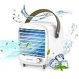 Nicehedtop 4 in 1 Tragbare Mini klimaanlage für zimmer, Persönlicher USB luftkühler fürs Büro, Mobil Klimagerät Verdunstungskühler mit Einstellbare Geschwindigkeit