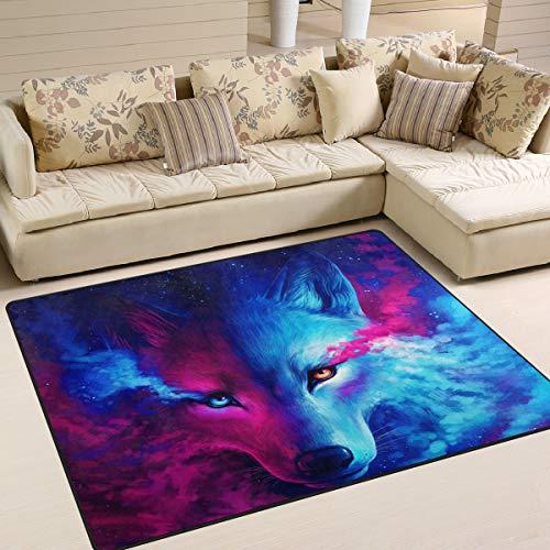 Naanle - Alfombra antideslizante para sala de estar, comedor, dormitorio, cocina, 60 x 90 cm, diseño de lobo de animales