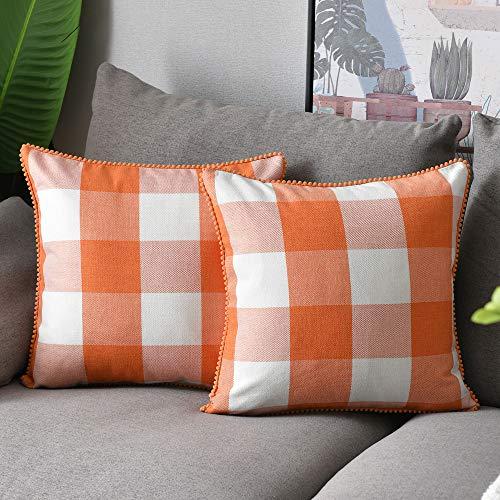 WLNUI Set of 2 Fall Orange Buffalo Plaid Pillow Covers 16x16 Inch with Cute Pom Poms Retro Farmhouse Rustic Check Throw Pillow Covers Square Cushion Case for Farmhouse Home Couch Sofa Decor
