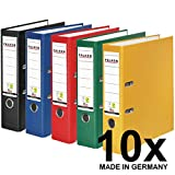 Original Falken 10er Pack PP-Color Kunststoff-Ordner. Made in Germany. 8 cm breit DIN A4 Vegan farbig sortiert zu je 2x schwarz, blau, rot, gelb, grün Aktenordner Briefordner Büroordner