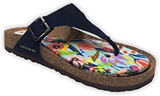 Colour Me Mad Blue Plain, Natural Cork, Washable, All Weather, Vegan, Made in India, PETA Certified, Women Sandals