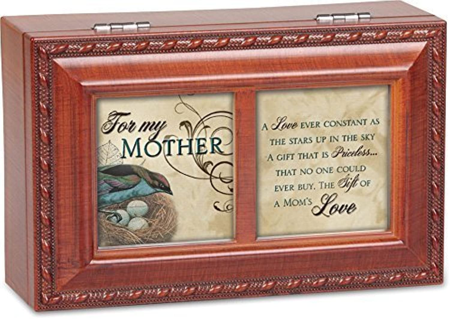 For My Mother Cottage Garden Rich Woodgrain Finish with Rope Trim Petite Jewelry Music Box  Plays Song Wind Beneath My Wings by Cottage Garden