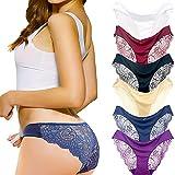 Coswe Femmes Soie sous-vêtements Sexy en Dentelle Stretch Slip Culotte Lot de 6/4/3, Multiple Colour-a(6pcs), L/EU36