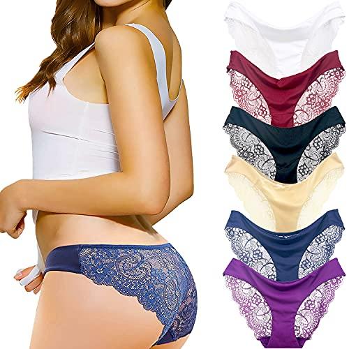 Coswe Femmes Soie sous-vêtements Sexy en Dentelle Stretch Slip Culotte Lot de 6/4/3, Multiple Colour-a(6pcs), XL/EU38