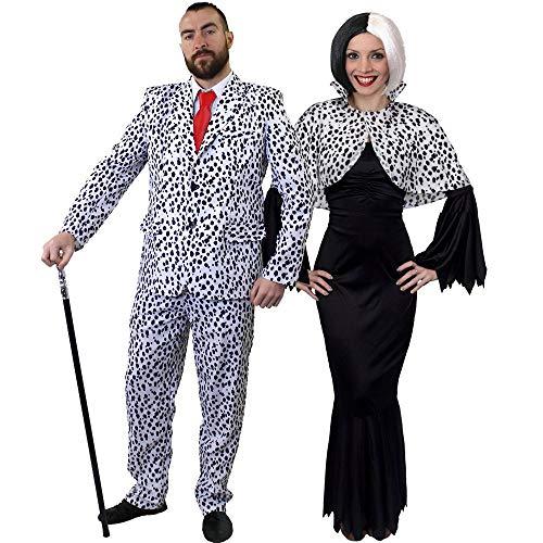 I LOVE FANCY DRESS LTD Paare Dalmatiner Halloween KOSTÜME Sein UND IHRS TV FILMCHARAKTERE Herren Dalmatiner Anzug + Frauen BÖSE HUNDEDAME KOSTÜM (Herren: X-GROẞ | Damen: MITTEL)