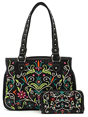 American Bling By Montana West Concealed Carry Purse and Wallet 2 Piece Handbag Set For Women - Western Design AB-5605TQ