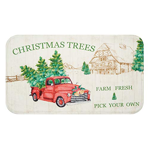 Christmas Area Rug, Red Truck Car and Christmas Tree Doormat, Xmas Indoor Floor Mats, New Year Soft Flannel Rug for Bedroom Living Room Kitchen, 18 x 30 inch