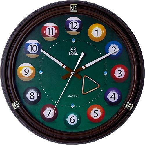 Gramke Billard Dekoration Uhren Wohnzimmer Wanduhr Retro Holz Wanduhr stumm Schlafzimmer kreative Quarzuhr-Schwarz rot_36X4.8X36CM