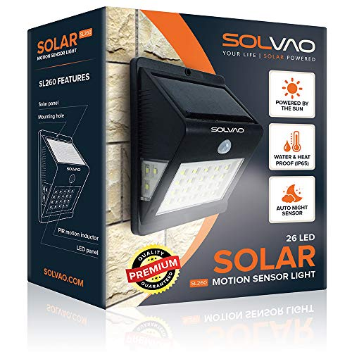 SOLVAO Solar Motion Detector Light (Upgraded) - 26 LED Dusk to Dawn Outside Light for House, Shed, Chicken Coop & RV - Brightest Solar Lights for Outdoor Use - Exterior Motion Sensor Security Light