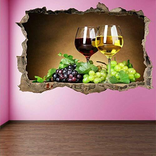 3D-Effekt Wandtattoo Aufkleber Durchbruch selbstklebendes Wandbild Wandsticker Stein Wanddurchbruch Wandaufkleber Tattoo,Weinglas Trauben 80x125cm