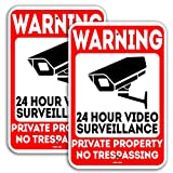 VIBE INK 18'x12' Warning Private Property No Trespassing 24 Hour Video Surveillance Metal Sign - UV Printed .040 Mil Rust Free Aluminum for Home, Business, Driveway, Commercial, CCTV (2)