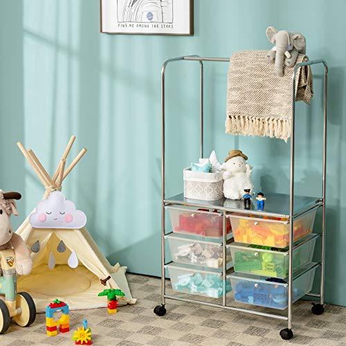 Giantex 6 Drawer Storage Cart, Office School Organizer Cart, Rolling Drawer Cart for Tools, Scrapbook, Paper or Bathroom, Storage Shelf (White)
