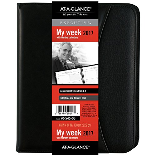 """AT-A-GLANCE Weekly / Monthly Appointment Book / Planner 2017, 6-5/8 x 8-3/4"""", Black (7054505)"""