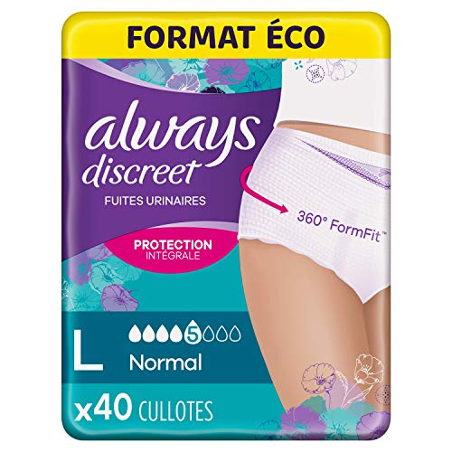 Always Discreet Incontinentie Broek voor Vrouwen, Groot, Saving Pack 40 Broek