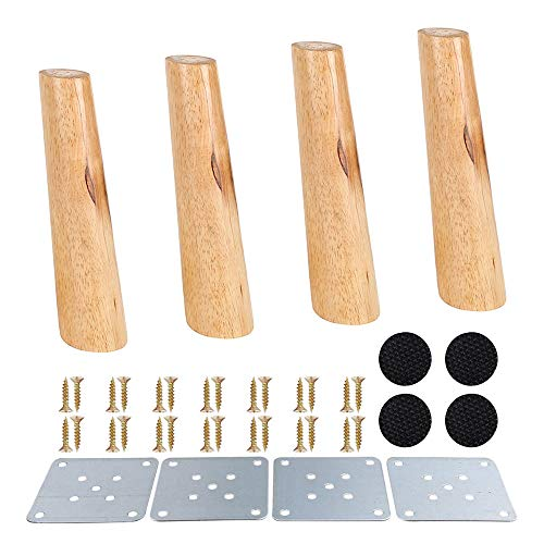 Juego de 4 patas de madera maciza, oblicuo, de repuesto, con placas de montaje y tornillos para sofá, cama, sofá, silla, oficina, color madera (base inclinada de 20 cm)