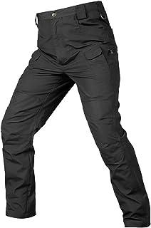بنطلون رجالي من Wanmxinein من قطعة واحدة من بناطيل مرنة متعددة الجيوب في الهواء الطلق للرجال نحيفة (اللون: أسود، المقاس: ص...
