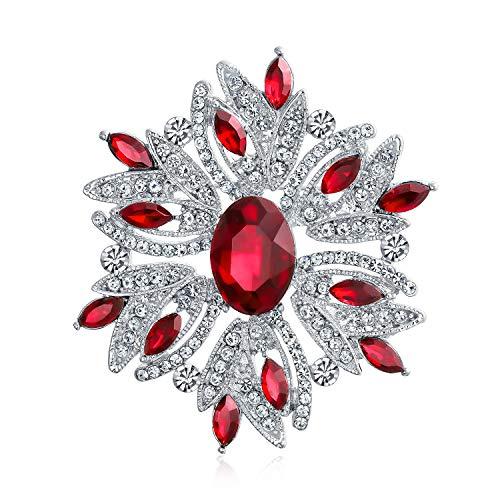 Bling Jewelry Declaración Grande Vintage Estilo Flor de Cristal simulado Rojo rubí Cristal Broche Pin para Las Mujeres para la Madre Plateado
