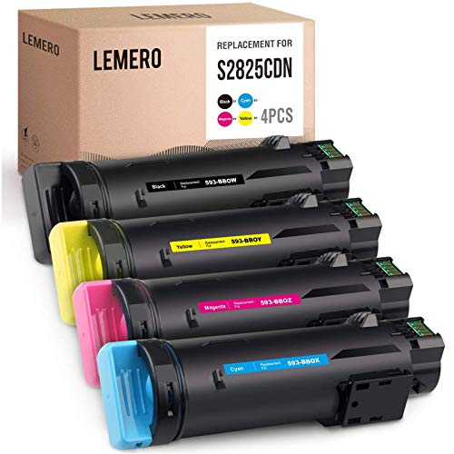 LEMERO Compatible Toner Cartridges Replacement for Dell 593-BBOW 593-BBOX 593-BBOY 593-BBOZ to use with H625cdw H825cdw S2825cdn (Black Cyan Magenta Yellow, 4-Pack)
