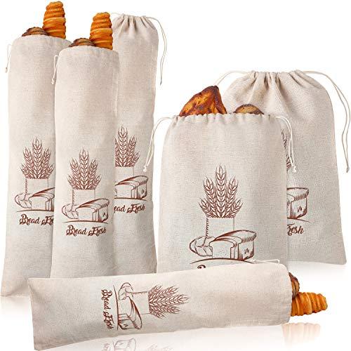 Patelai 6 Stück wiederverwendbare Leinen-Brotbeutel, Kordelzug, Brotaufbewahrungsbeutel, waschbar, Leinen, für Lebensmittel, Brot, Brot, Aufbewahrung, 30,5 x 40,6 cm und 68,6 x 20,3 cm