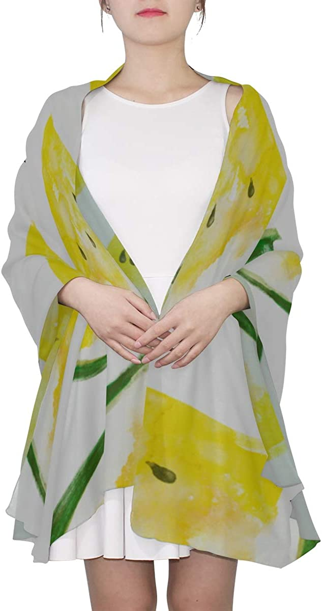 Lightweight Scarf Watercolor Yellow Watermelon Wraps Shawls For Women Large Wrap Shawl Lightweight Print Scarves Travel Scarf Lightweight Lightweight Fashion Scarfs For Women