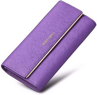 Wallets Wallet Trifold Leather Long Capacity Clutch Bag Tri-fold Purse (Color : Purple, Size : 19 * 9.5 * 3.5CM)