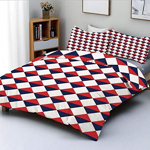 Juego de funda nórdica, medio triángulo con forma de diamante, retro, azul marino, inspirado en el arte, estampado decorativo, juego de cama de 3 piezas con 2 fundas de almohada, rojo, azul oscuro y b