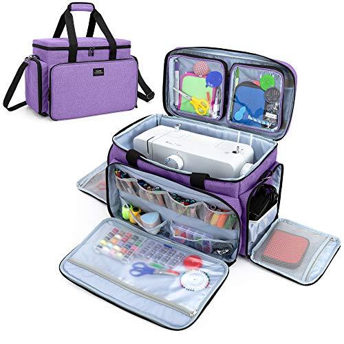 CURMIO Bolsa para Máquina Coser, Bolsa de Viaje para Máquina Coser, Maleta de Máquina Coser con 2 Bolsillos Extraíbles Transparentes, Adecuado de la mayoría de Máquina de Coser Universales, Púrpura.