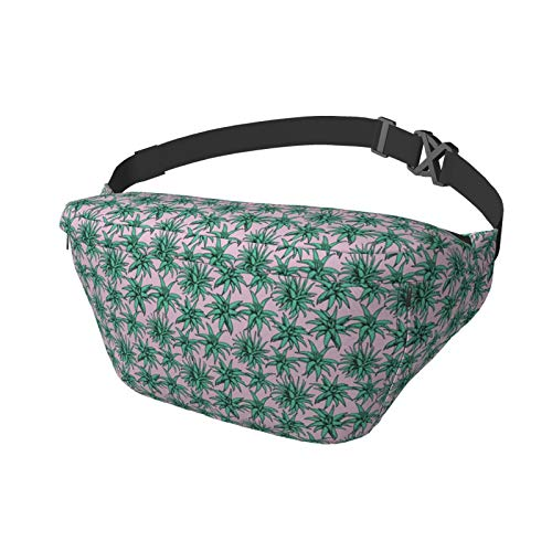 Waist Bag Aloe Vera Seamless Pattern Multifunction Hip Bum Bag Chest Bag Phone Pounch Holder Wallet Purse for Men/Women with Adjustable Belt for Hiking Running and Cycling