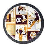 Fußballfahne Braun 4 Stück Schubladengriff für Kleiderschrank Schrank Kristallglas Möbelknöpfe elegantes Dekor Kinderzimmer Schlafzimmer beste Geschenk für Kinder 3,5 x 2,8 cm