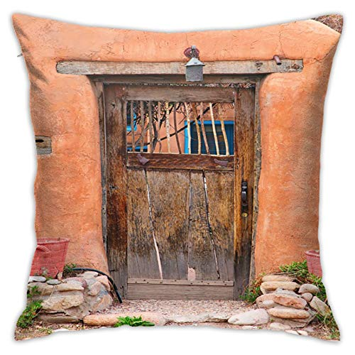 Throw Pillow Cover Case Southwestern Blue House Vintage Door Santa Fe New Destination México Naranja Adobe Albuquerque Southwest Funda de Almohada Decorativa 45cmx45cm Funda de cojín para sofá Cama