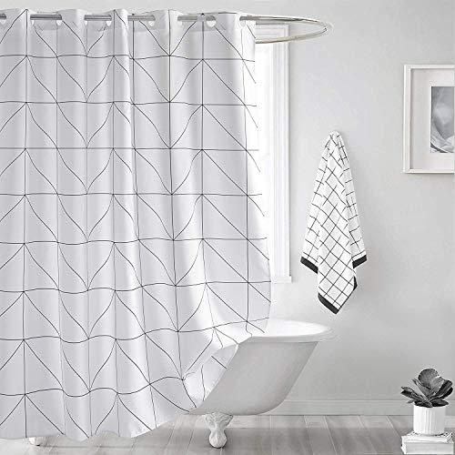 SUN-Shine Duschvorhang-Set mit Haken, geometrisches Muster, wasserdicht, modern, 183 x 244 cm, Weiß