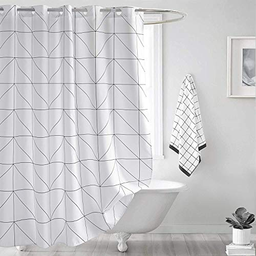 SUN-Shine White Geometric Fabric Shower Curtain Set with Hooks, Waterproof Modern Bathroom Curtains Home Essential 72x96Inch Extra Long