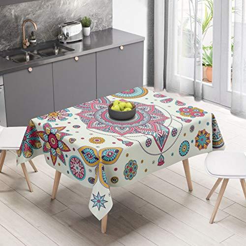 LIUJIU Mantel de mesa rectangular de lino y algodón a cuadros, lavable, diseño de borla, a prueba de polvo, decoración de mesa de café, 110 x 110 cm