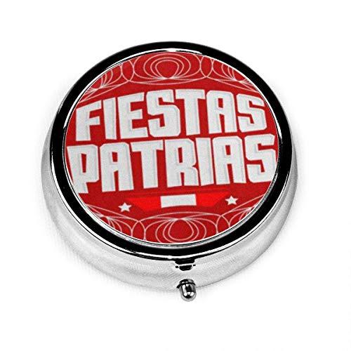 Portapillole Rotondo con 3 scomparti Fiestas Patrias Nal Holidays testo spagnolo Perù patriottico Celebr colore peruviano bandiera