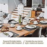 Miqio® - Design Tischset aus Filz   Marken Label aus echtem Leder   6er Set Platzset (dunkel grau anthrazit) abwaschbar   Filzmatte Tisch Untersetzer Platzdeckchen abwischbar - 4