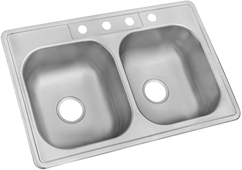 wholesale Glacier discount Bay Drop-in Stainless Steel 33 in. 4-Hole lowest Double Bowl Kitchen Sink outlet online sale
