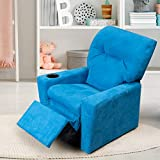 GOOD & GRACIOUS Kids Recliner Chair with Cup Holder Toddler Baby Child Upholstered Recliner for Boys and Girls, Blue