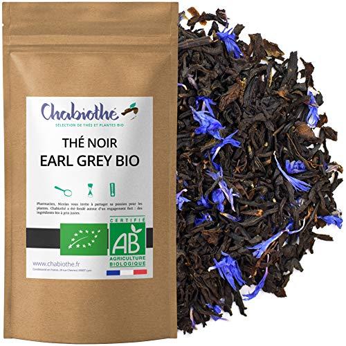Chabiothé - Thé noir Earl Grey BIO 200g - bergamote et bleuets - mélangé et conditionné en France - sachet biodégradable