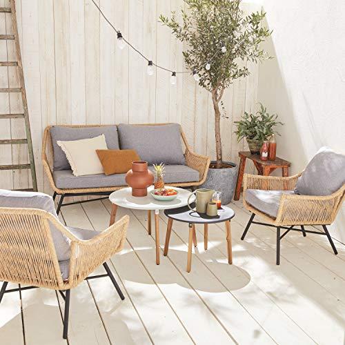 Alice's Garden Conjunto de jardín de 4 plazas Kuta - Conjunto de sofá de 2 plazas y 2 sillones con 2 mesas auxiliares, Resina Trenzada Efecto ratán, Cojines Gris Claro Jaspeado