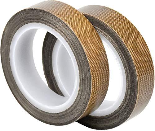 WEKON 2 Stück Teflonband, Hochtemperaturband, PTFE Glasgewebeband/Glasklebeband, High Temp Klebeband, Hitzebeständig bis 260°C, Selbstklebend, 10m x 13mm x 0.13mm