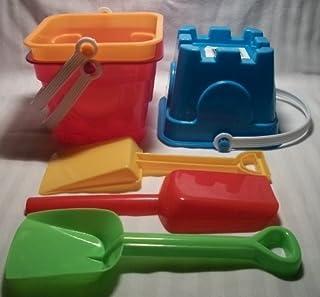 6 Piece Sand Castle Building Small Toy Set (3 Buckets, 3 Shovels)