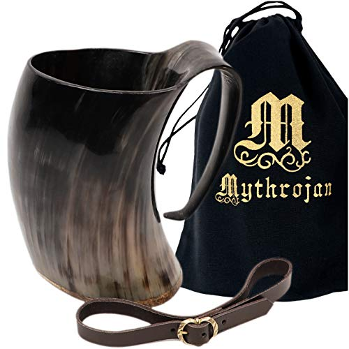 Mythrojan Viking Horn Mug Tankard with Leather Strap Safely Holds Hot and Cold Liquids Coffee Hot Chocolate - Wine Beer Mead