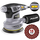 13000RPM Eccentric Sander - Jellas Orbital Sander with Copper Motor and 6 Variable Speeds, Supplied with 12pcs 125mm Sanding Disc (Abrasive Grit 80, 120, 240), 3 Meter Cable