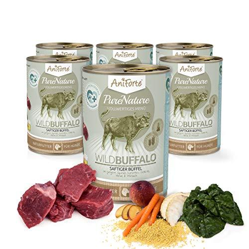 AniForte Hundefutter Nass WildBuffalo 6 x 400g – Nassfutter für Hunde, Frisch vom Büffel, hoher Fleischanteil, Gemüse & Früchte, Natürliches Hundenassfutter mit Extra viel Fleisch, glutenfrei