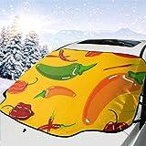 JONINOT Visera de sombrilla automática para Parabrisas Delantero Impermeable Patrón de pimientos jalapeños Protector protección contra heladas Invierno vehículos