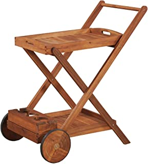 Festnight Kitchen Trolley Cart Acacia Wood Rolling Island Tea Serving Cart with 2 Tray for Garden Patio Dining Room Indoor and Outdoor Use