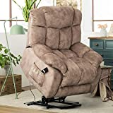 Power Lift Recliner Chair for Elderly Antiskid Fabric Sofa Living Room Chair with Overstuffed Design Heavy Duty and Safety Motion Reclining Mechanism-E